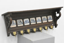 Huge Antique oak wood carved wall coat rack delft pottery tiles 1920s