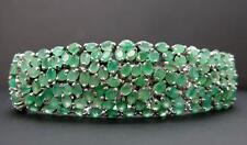 High End 51.00ctw Genuine Colombian Emerald Sterling Silver Tennis Bracelet 47g