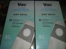 (2) Vac Dirt Devil Type U 3-Pack Allergen Vacuum Bags