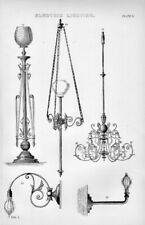 """1880's historical print  """" electric light fittings  """""""
