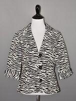 BOSTON PROPER $139 Black White Zebra Print Blazer Jacket Size 6