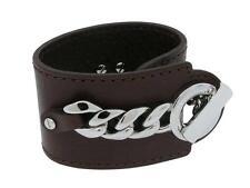 Dolce & Gabbana Jewels DJ0446 Women's Wide Brown Leather Silver Tone T-Bar Cuff