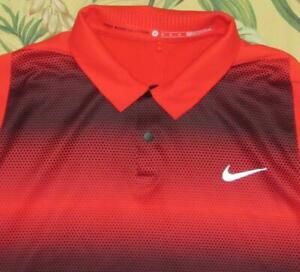 NIKE Tiger Woods Red Short Sleeve Polo Golf Shirt Medium M