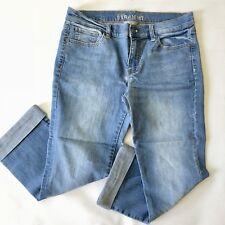 New York & Company Women's Jeans Size 8 Low Rise Straight Leg Cuffed Light Wash