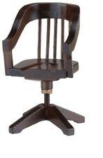 Dollhouse Miniatures 1:12 Scale Swivel Desk Chair, Walnut #CLA10406