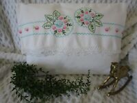 """VINTAGE  PILLOW, GREAT WITH VINTAGE QUILTS, EMBROIDERED, CROCHETED, 14"""" X 11"""""""