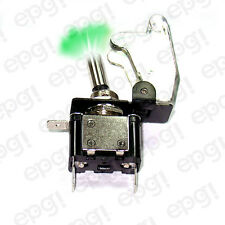 TOGGLE SWITCH GREEN ILLUMINATED ON/OFF SPST 3P w/TRANSPARENT COVER#662052/665016