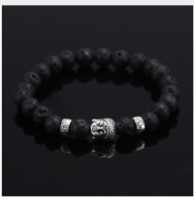 UK.Beautiful Silver Buddha Lava Stone/Rock Crystal Gemstone Bead Bracelet Chakra