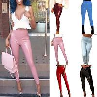 Women's Leather PU Wet Look Trousers High Waist Skinny Leggings Pants GIFT HOT