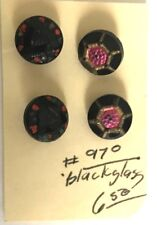 4 (2 PAIR) SMALL VICTORIAN STYLE FACETED BLACK GLASS BUTTONS  PINK & RED ACCENTS