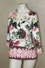 CHARTER CLUB Women White Floral V Neck 3/4 Sleeve Top Blouse Size Petites R24C1
