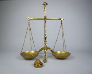 Large 19th Century Brass Bank Scales by Doyle & Son, London, With Avery Weights.