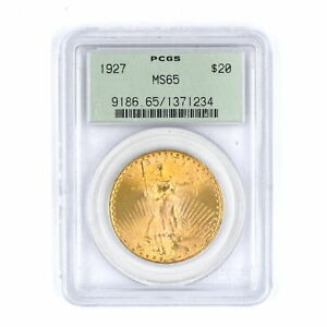 1927 $20 SAINT GAUDENS DOUBLE EAGLE 90% GOLD US COLLECTIBLE COIN PCGS MS65