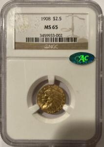 1908 $2.5 Gold Indian Quarter NGC MS65