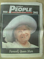 VINTAGE NEWSPAPER THE SUNDAY PEOPLE MARCH 31st 2002 FAREWELL QUEEN MOTHER