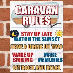 CARAVAN RULES Metal Signs Funny Plaque Garden Party Holiday Camper Joke Tin Sign