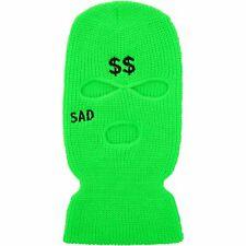 Prolific Green 100% Acrylic Embroidered Sad Ski Mask One Size