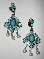 Lawrence Vrba Turquoise Faux Pearl Chandelier Earrings