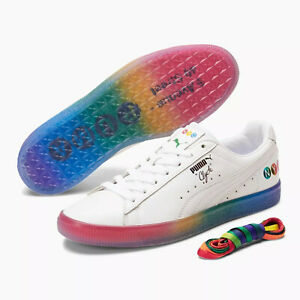 PUMA Clyde PRIDE NYC (Men's Size 10.5) Athletic Sneaker Shoes White Rainbow