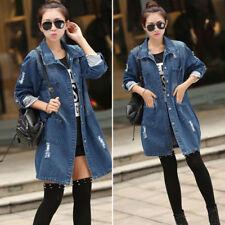 Women New Fashion Casual Long Sleeve Denim Jacket Long Jean Coat Hot sale M