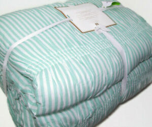 Pottery Barn Teen Aqua Pool Green Harper Ruched Stripe Full Queen Quilt Dot
