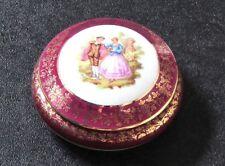 Rare Vintage Rétro belle Limoges french France Porcelaine Ronde Bijou Box