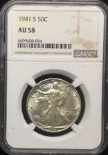 1941-S 50C Walking Liberty Half Dollar, AU 58 #