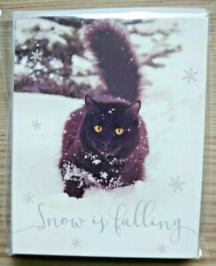 Cats Protection Xmas Cards - Snow - Pack x10 cards 13.5cm x 10.7cm