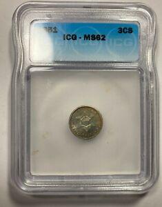 1851 Three Cent Silver ICG MS62 Pretty Iridescent Color