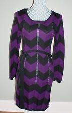 Mossimo Dress Long Sleeve Chevron Black Purple Womens Size XS