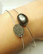 Huge 13mm Tahitian grey Black pearl bracelet 925 silver .3ct diamond tag bangle