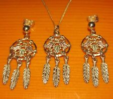 STUNNING SECONDHAND 10ct GOLD NATIVE INDIAN DANGLY EARRINGS  & NECLACE 46.5cm