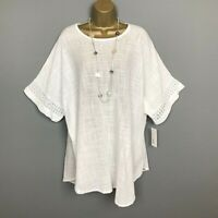 NEW Italian Tunic Top White Crinkle Lagenlook Womens UK Plus Size 18 20 22 24