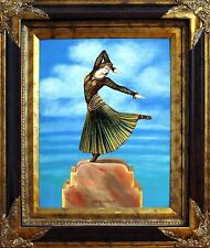 Hungarian Chiparus Bronze Oil Painting by Kristina Nemethy of a Woman Dancer