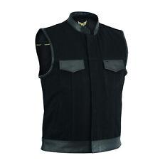 Genuine Men's SOA Style Black Denim Leather Trim Biker Waistcoat conceal pockets