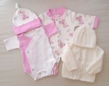 5-7lbs Premature Baby Tiny Girls Clothes Pink Sleepsuit Vest Hat Cardigan Bunny