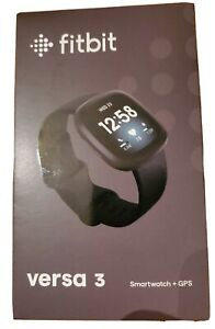 New Fitbit Versa 3 FB511BKBK Health and Fitness Smartwatch with GPS - Black