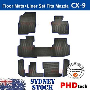 Mazda CX-9 2016-2021 Tailor Made All Weather Rubber Car Floor Mats 9 pic BLUE