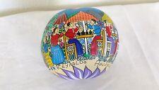 Handpainted Cirian Seed Good-Luck Ball, Artist signed, Mexico, Village Scene