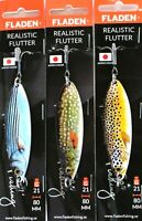 3 Fladen Realistic Flutter Spoon 21g 80mm Asst Colours Lure Pike Trout Salmon
