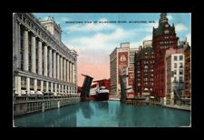 DR JIM STAMPS US DOWNTOWN VIEW MILWAUKEE RIVER WISCONSIN LINEN VIEW POSTCARD