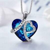 Frauen Silber Herz Anhänger Halskette Kristalle Elegante Blaue Schmuck Frau N3E8