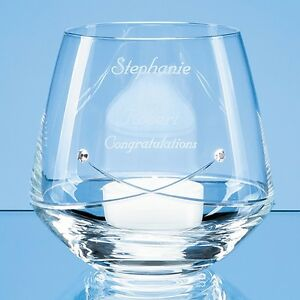 Personalised Diamante Glass Tealight Candle Holder - Wedding or Anniversary Gift