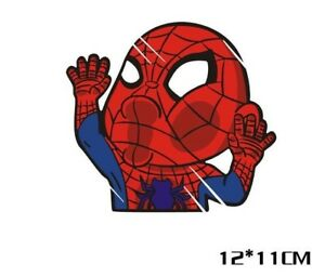 Fun car decal/ sticker of Spider Man funny squashed face for car/ window