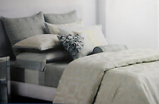 FULL / QUEEN - Simply Vera Wang - Entwine Pale Teal & Silver SHAMS & DUVET COVER