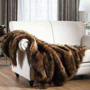 HORIMOTE HOME Luxury Plush Faux Fur Throw Blanket, Long Pile Brown with Black Ti