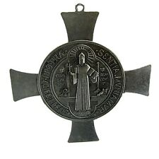 Medalla De San Benito St Saint Benedict Medal Antiqued Silver Tone Celtic Cross