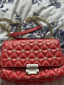 Michael Kors Sloan Large Bright Red Quilted Leather Chain Shoulder Crossbody Bag