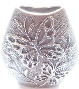 Butterfly Silver Coloured Vase 21.5 CM