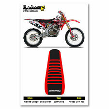 2009-2012 HONDA CRF 450 Ribbed SEAT COVER Red/Black/Red Ribs by Enjoy MFG